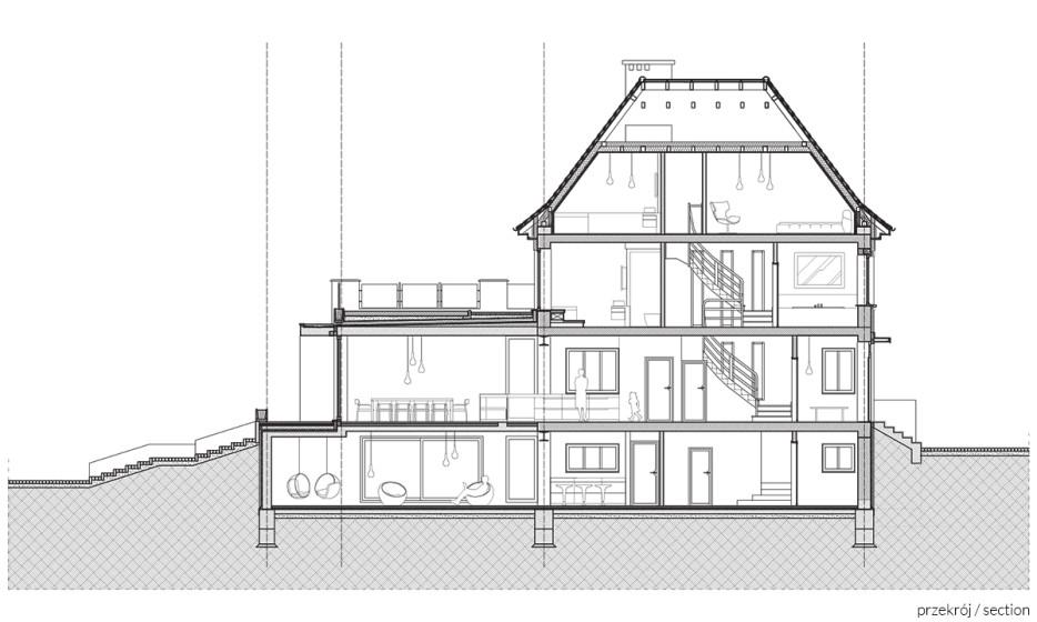 Rozbudowa domu jednorodzinnego - Willa na Biskupinie Wrocław projekt / realizacja 2014 Adamiczka Consulting (7) przekrój A-A
